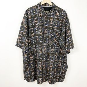 VTG 80's Men Abstract Funky Print S/S Button Down